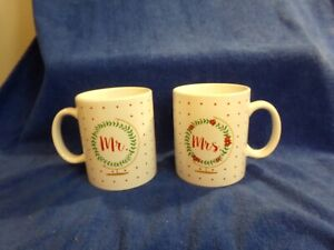 Formation Brands Holiday Christmas Mr. Mrs. 18oz Coffee Cup Mugs Lot of 2