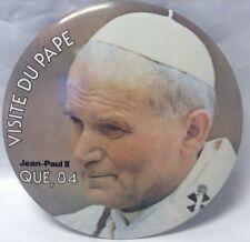 "Vintage 6"" Promo Button Pinback POPE JEAN-PAUL II Macaron VISITE DU PAPE QC 1984"