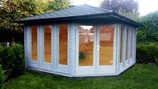 5-Eck Gartenhaus Modern, 4x4M Pavillon Blockhaus aus Holz, 40mm, Emden 40036