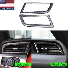 Carbon Fiber L & R Air Vent Outlet Frame Cover Trim For Ford Mustang 2015- 2018