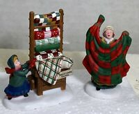 Dept 56 Christmas Bazaar Handmade Quilts 2 PC Retired RARE #56594 New In Box