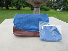 NEW - Lancome makeup bag with coin purse - blue corduroy fabric