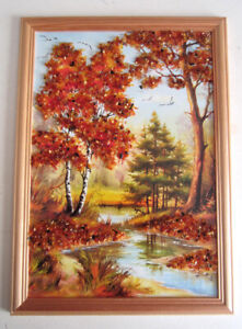 Baltic Amber Picture From Lithuania - Fall Landscape - Handcrafted, Framed