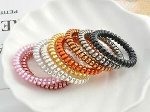 10 Spiral Coil Jelly Thin Elastic Hair Scrunchies Telephone Cord Ponytail 60mm