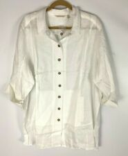 Soft Surroundings Ivory White 100% Linen Roll Tab Sleeve Button Front Tunic 3X