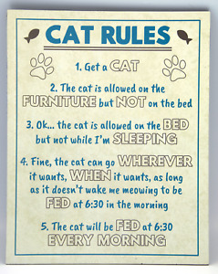 Funny Blue & Cream Rustic Cat Rules MDF Wooden Hanging Plaque Sign Humorous Gift