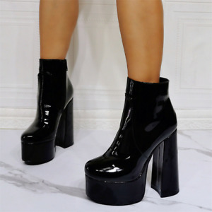Womens Punk Patent Leather Round Toe Chunky Heels Goth Platform Ankle Boots Club
