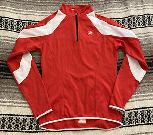 CASTELLI Cycling Jacket Quarter Zip Red White Logo Sz M