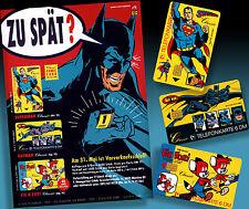 BATMAN | SUPERMAN | FIX UND FOXI ALTER TELEFONKARTEN WERBEFLYER 1992 + 3 DUMMIES