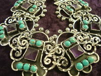 VINTAGE DESIGN TAXCO MEXICAN STERLING SILVER AMETHYST TURQUOISE BRACELET MEXICO