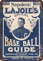 "1908 LaJoie's Baseball Guide Rustic Retro Metal Sign 8"" x 12"""
