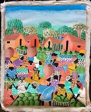 AMAZING ORIGINAL VINTAGE SIGNED HATIAN ART PAINTING BY SIMILIEN AFRO CUBAN HAITI