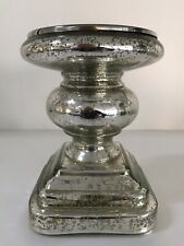 "Vintage Mercury Glass 7"" Pillar Candle Holder"
