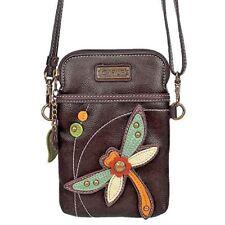 Black Faux Leather Crossbody Chala Cell Phone Wallet Purse Handbag-Dragonfly