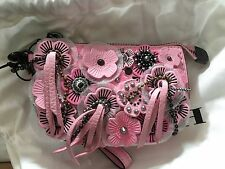 NWT coach 1941 POUCH leather wild tea rose black copper petal/pink