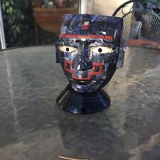Obsidian Inlayed Lapis and Coral stone carved Mask