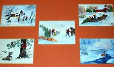New England Winter Scenes Signed Folk Art Watercolor Paintings Farm Barn Skating