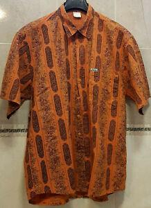 Camicia da uomo fantasia arancione mezza manica in ALGOTON-COTONE grezzo 100%