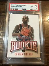 DAMIAN LILLARD 2012-13 Panini Marquee ROOKIE #391 RC Leather PSA 8 TRAIL BLAZERS