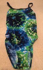 Speedo Endurance Blue Green Tie Dye Swimsuit Sz 6/32