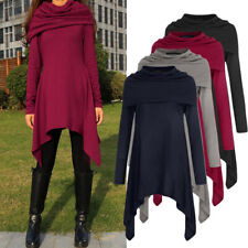 UK Women Baggy Jersey Ladies Turtleneck Pullover Long Top Jumper Dress Size 8-26