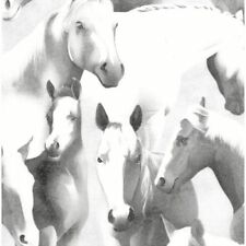 White Grey Horses Cotton Quilting Sewing Fabric Equine Horse Farm Craft