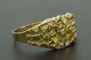Real Solid 10K Yellow Gold  Mens Nugget Square Ring 10.7mm ALL Sizes