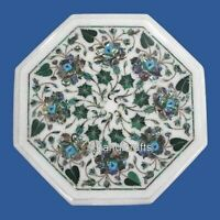 12 Inches Marble Coffee Table Top Inlay Side Table with Abalone Shell Stone Work