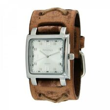 Nemesis Unisex Lite SQ Watch with Faded Brown X Leather Cuff Band Vintage Style