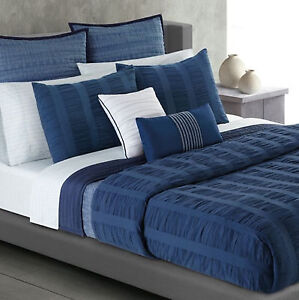 CA KING  -  Apt. 9 - Ripple Indigo Blue 3-Pc SHAMS & COMFORTER SET