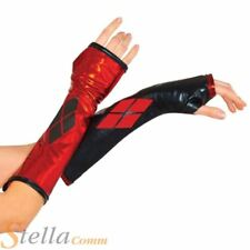 Ladies Harley Quinn Gauntlets Gloves Adult Fancy Dress Costume Accessory