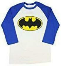 Mens White Batman Logo Raglan Baseball Tee T-Shirt