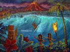 Print * Surf's Up Hawaiian Island Volcanic Surfing Tiki Bar Art Hot Lava CBjork
