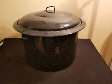 Vintage Black/Blue Speckled Extra Large Canning Pot With Lid and Rack