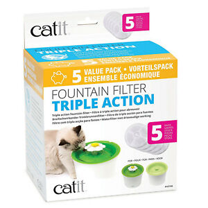 Catit Senses Water Fountain Triple Action Filters, Pack of 5