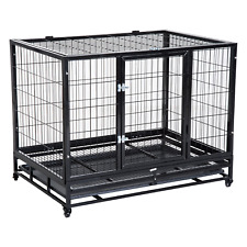 "PawHut 43"" Heavy Duty Metal Dog Kennel Pet Cage with Crate Tray and Wheels -"