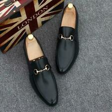 Men's Real Leather Slip On Round Toe Formal Business Loafers Dress Party Shoes @
