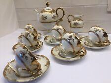 Service à café NORITAKE 1900's - Décor de fleurs à l'or - Gold painting - 14 pcs
