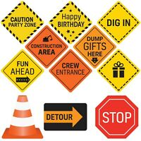 Construction Birthday Party Signs 12 Double Sided Medium Size Traffic Signs