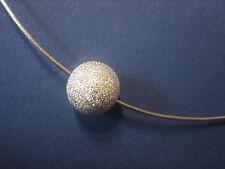 Omega Reif 1,0 mm 50 cm 925 Silber Halsreif rhodiniert diamantierte Silberkugel