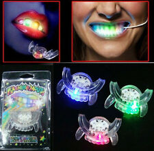 LED Light up Flashing Mouth Glow Teeth For Halloween Party Rave Accessory Gift E