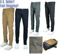 Men NAVY KHAKI WHITE RED BLACK TWILL Skinny Jeans Slim STRETCH FIT SLIM Pants
