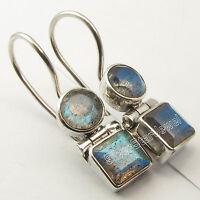 "925 Silver Genuine LABRADORITE Earrings 1"" SEMI PRECIOUS GEMSTONE"