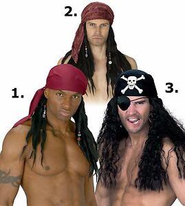 Pirate Wig with Bandana Scarf Bandanna Mens Adult Costume Hair Dreads Dreadlocks