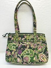 Vera Bradley Floral Green Paisley Quilted Print Zip Top Purse