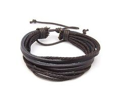 Dark Brown Leather Double Strap /& Cord Surf Wristband Bracelet F14909