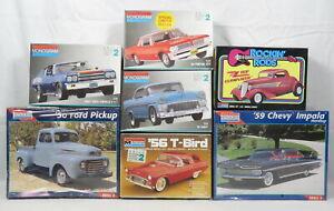 Lot 7 Monogram Model Car Kit 1:24 1:25 ZZ Top Eliminator T-Bird Chevelle VTG NEW