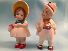 Vintage Pair Man & Woman Bisque Nodder Dolls-Figurines Made in Germany 3 1/4""