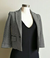 BCBGMAXAZRIA Natalia womens XXS B&W striped cropped blazer short suit jacket