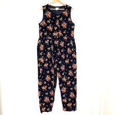 VTG Laura Ashley Womens L Jumpsuit Overall Floral Corduroy Prairie Cottagecore